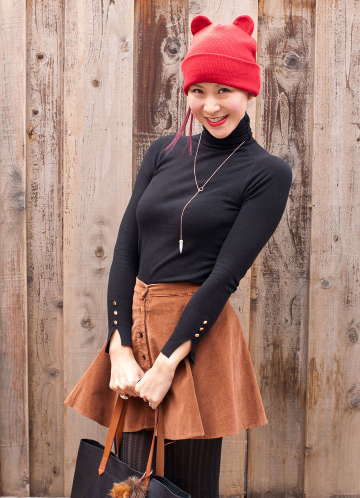 Turtleneck and Corduroy Circle Skirt