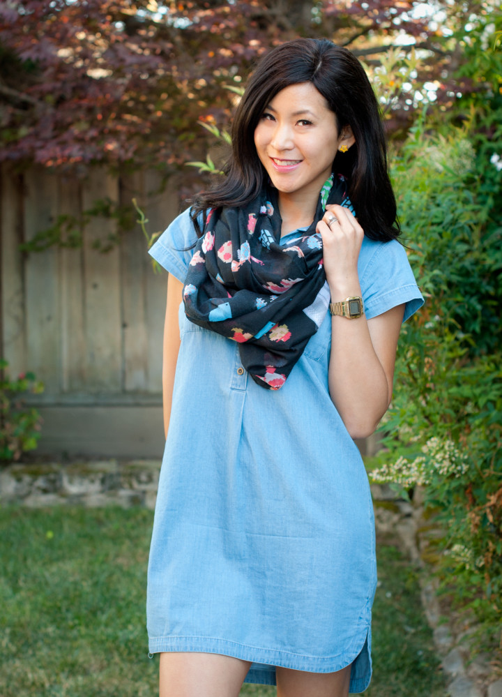 Super Mario Scarf and Chambray Dress