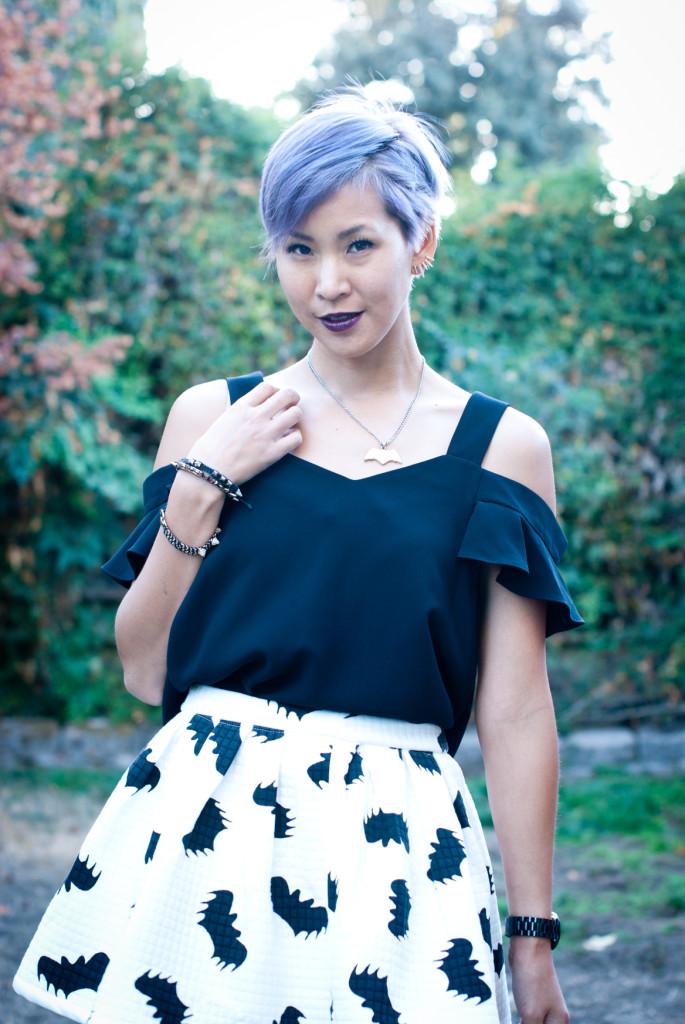 Bat Print Skirt Outfit