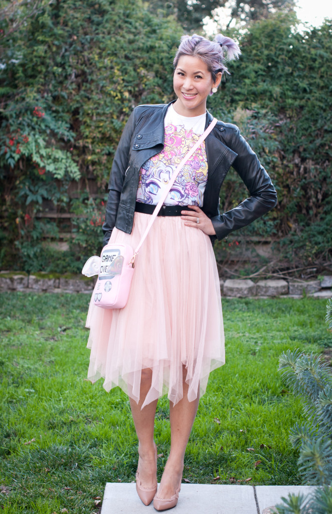sailor moon tee and tulle skirt outfit