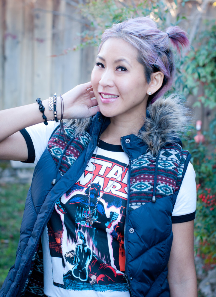 Fur vest, Bell Bottoms, Star Wars Comic Ringer Tee