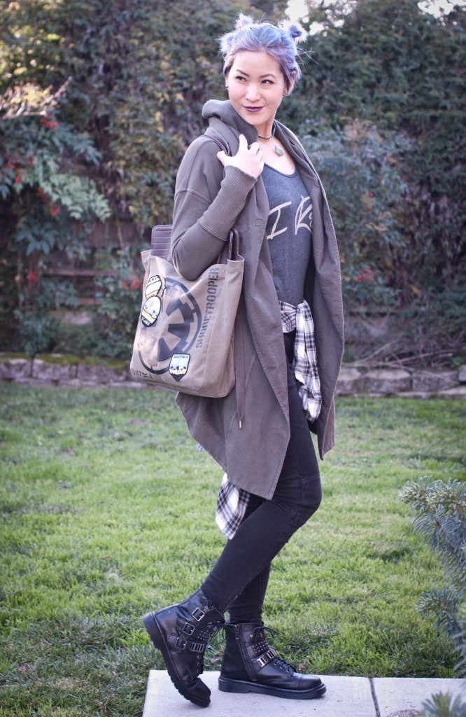 Free People long cardigan with Loungefly Rogue One tote