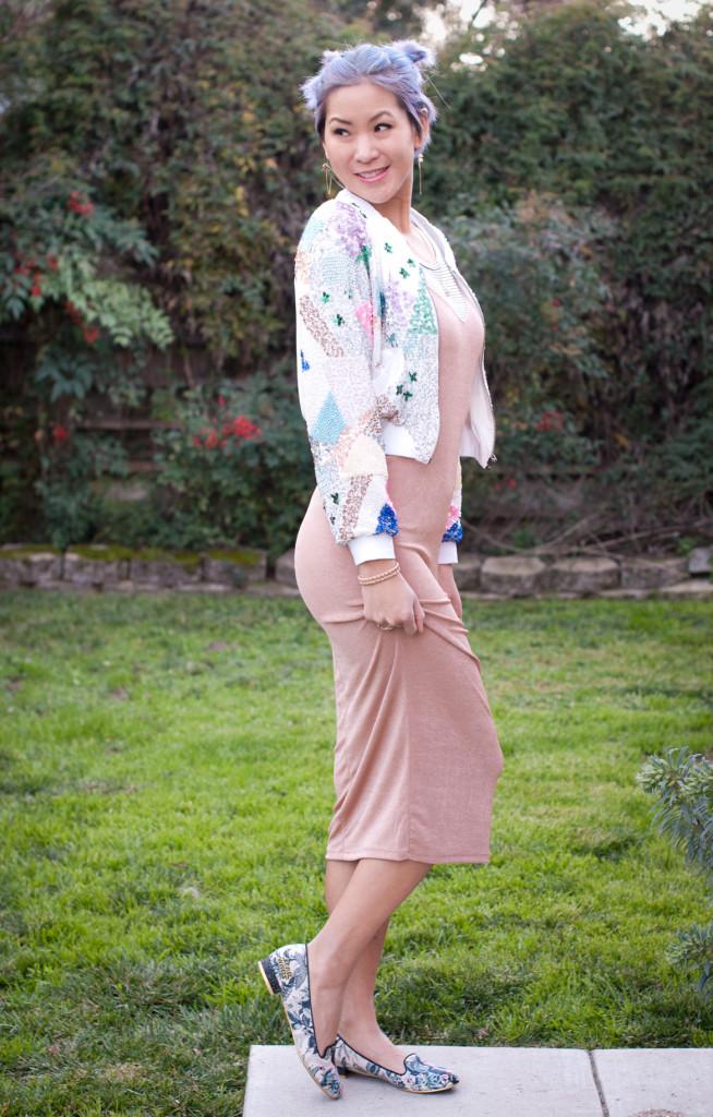 Sequin Bomber Jacket and Cami Slip Dress