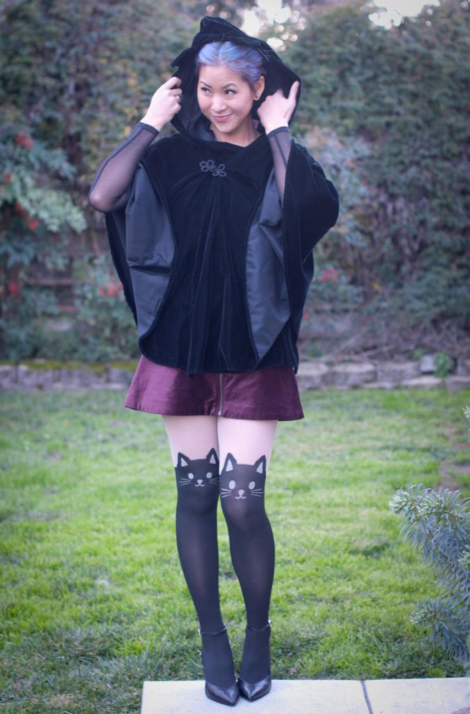 Velvet Cloak Cat Tights outfit