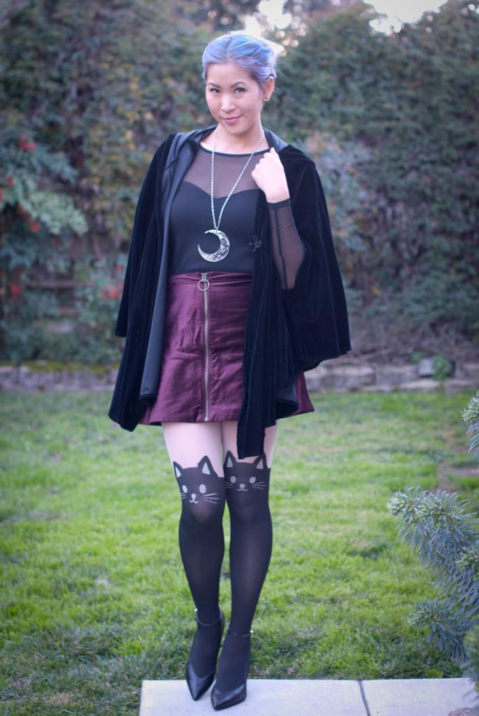 Cat Tights Velvet Skirt with Velvet Cloak