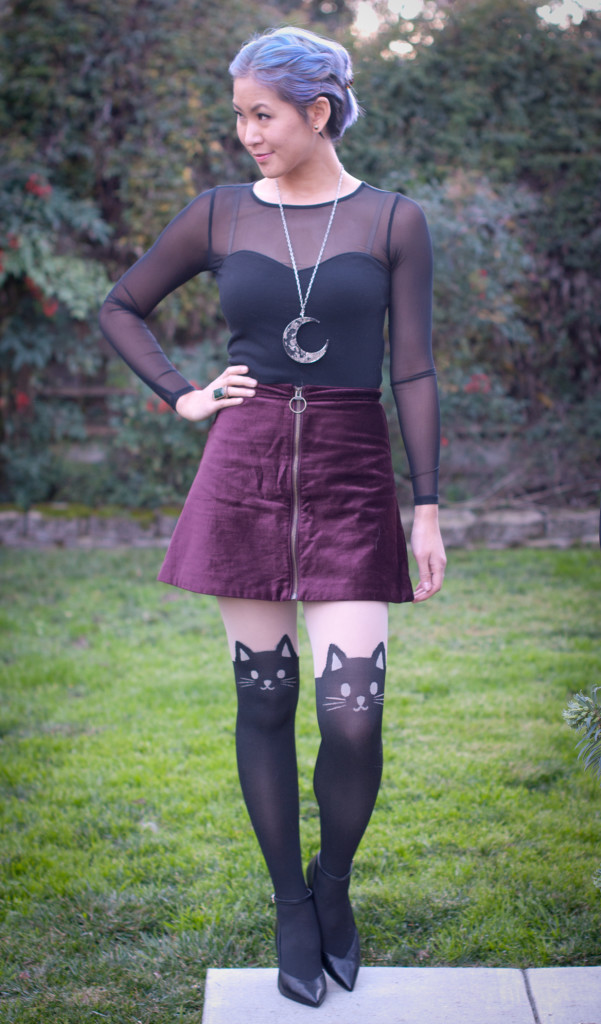 Mesh Top with Velvet Skirt Outfit - Cat Tights