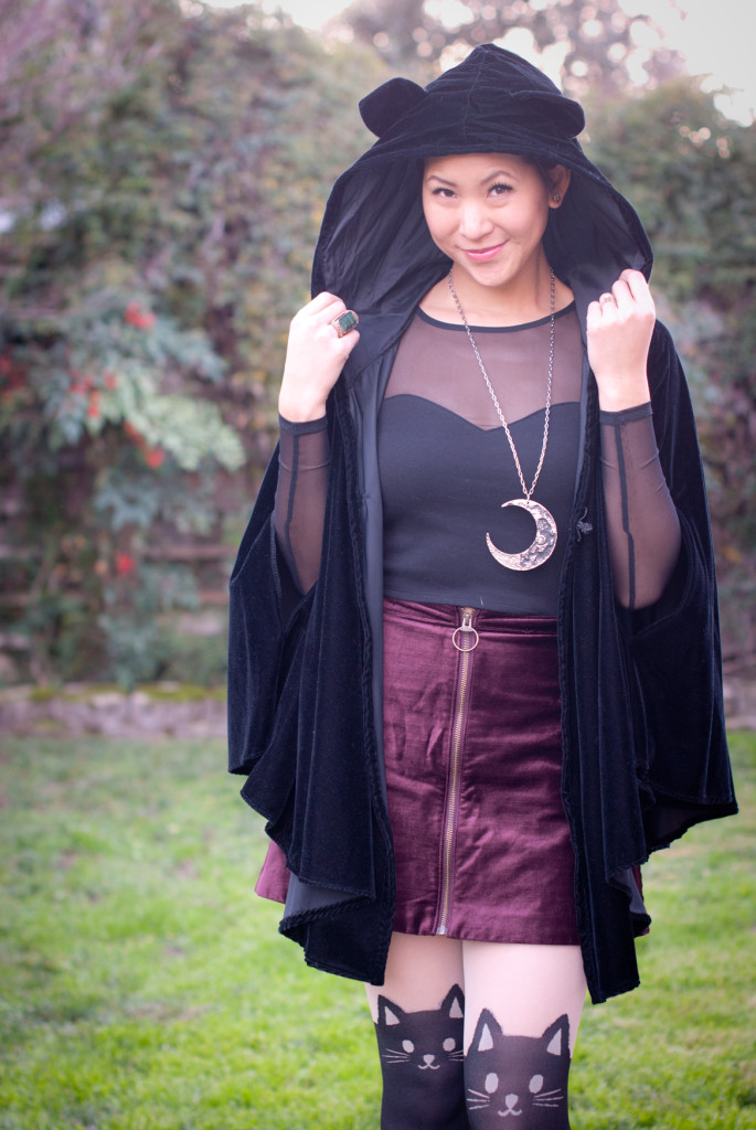 Cat Cloak Cat Tights Velvet Skirt