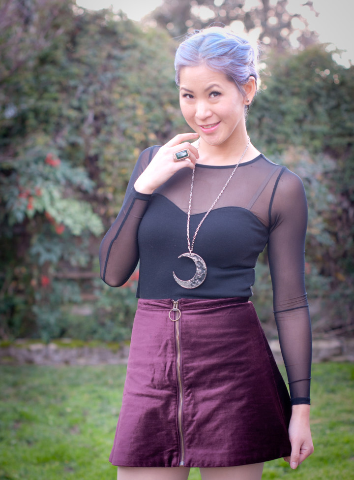Mesh Top with Velvet Skirt Outfit