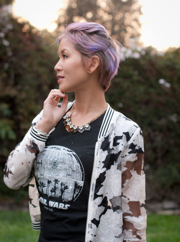 Rogue One tee and Sheer Floral Bomber Jacket