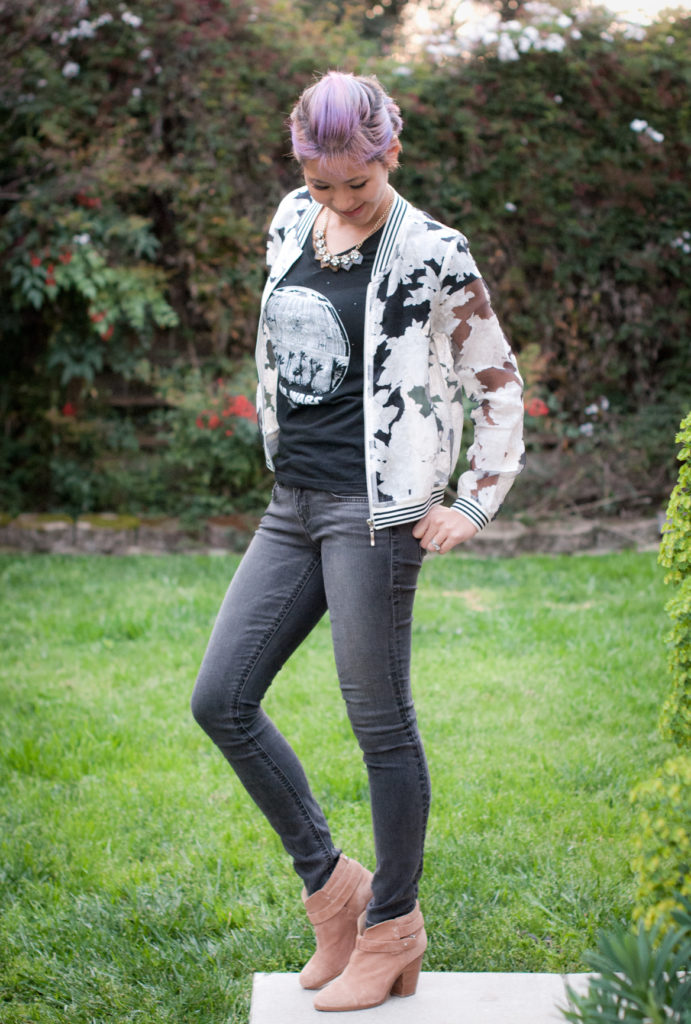 Rogue One tee and Sheer Bomber Jacket