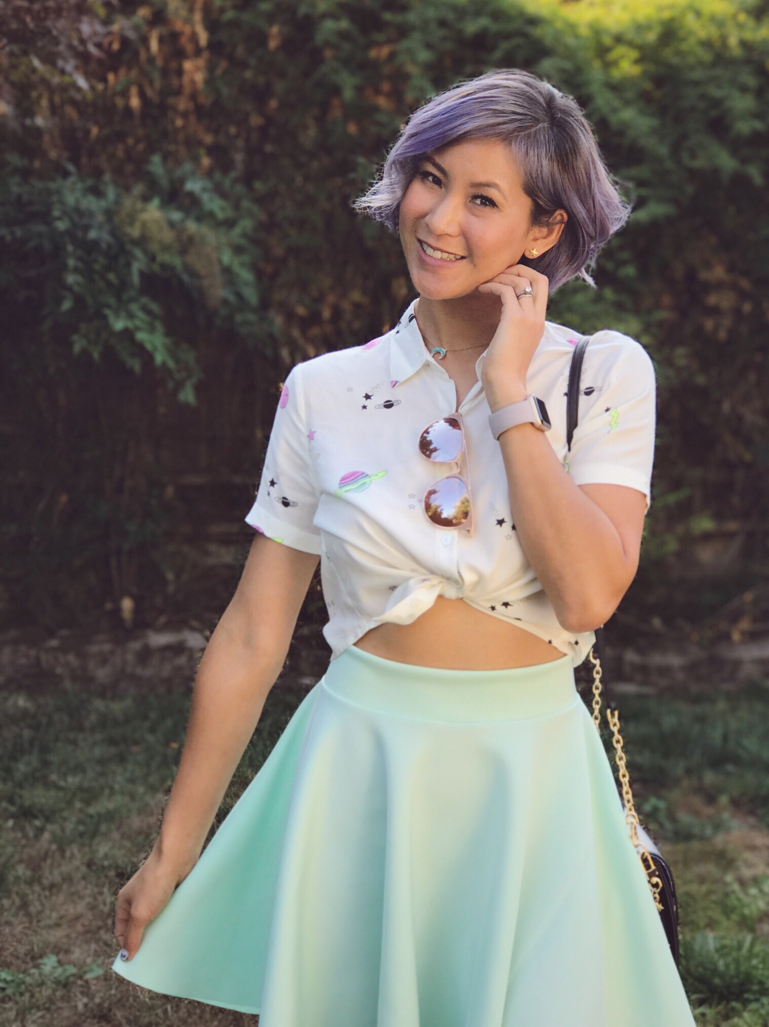 Galaxy print shirt and mint green skirt