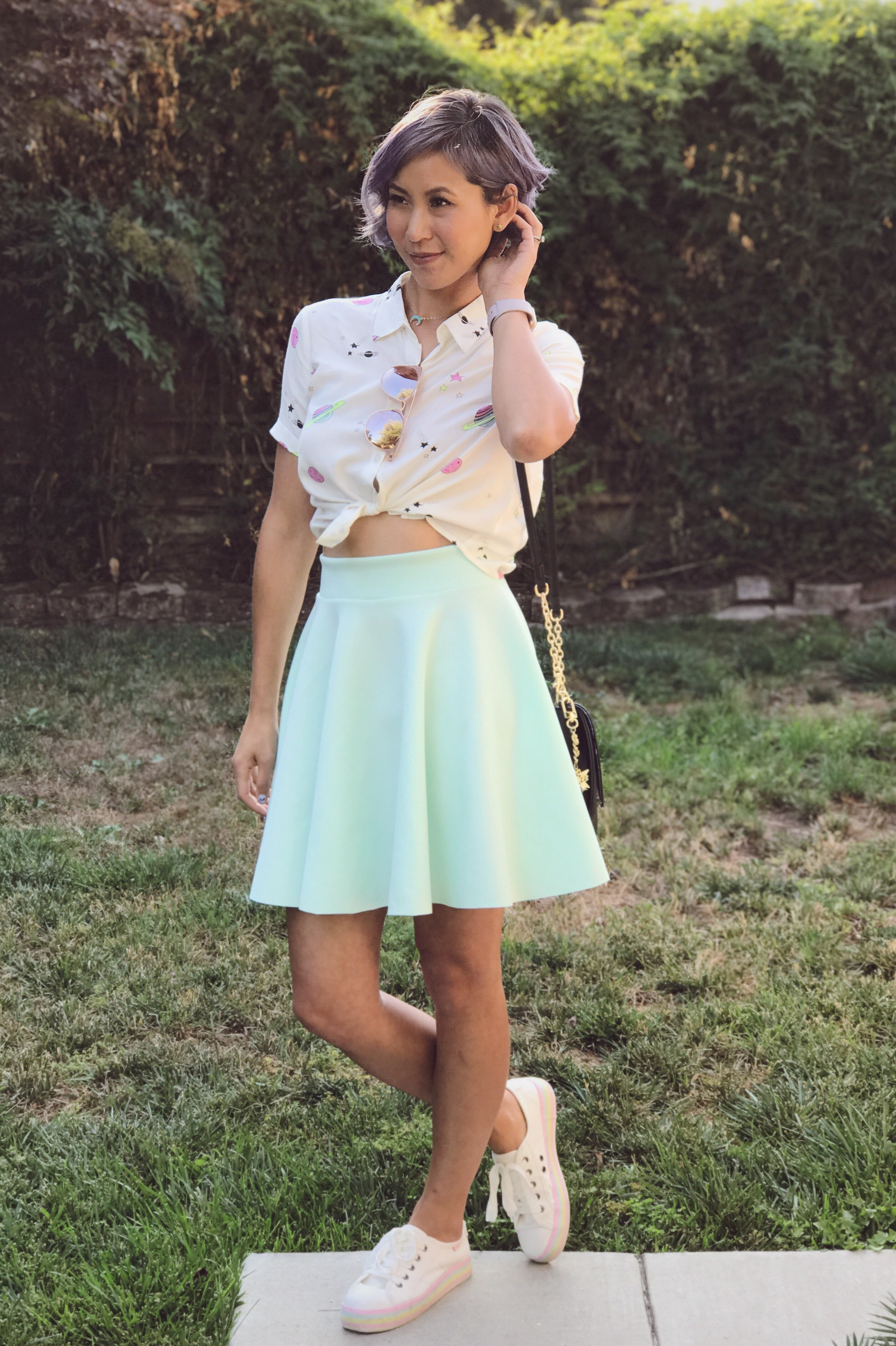 Galaxy print shirt and mint green skirt outfit