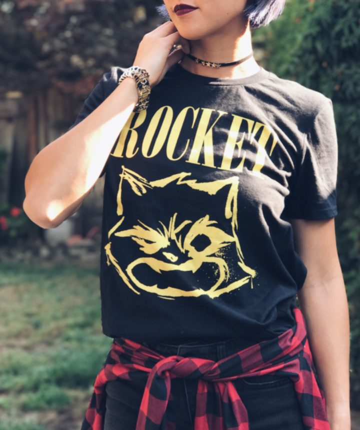 Rocket Raccoon Guardians of the Galaxy Band Tee 90s Grunge Outfit