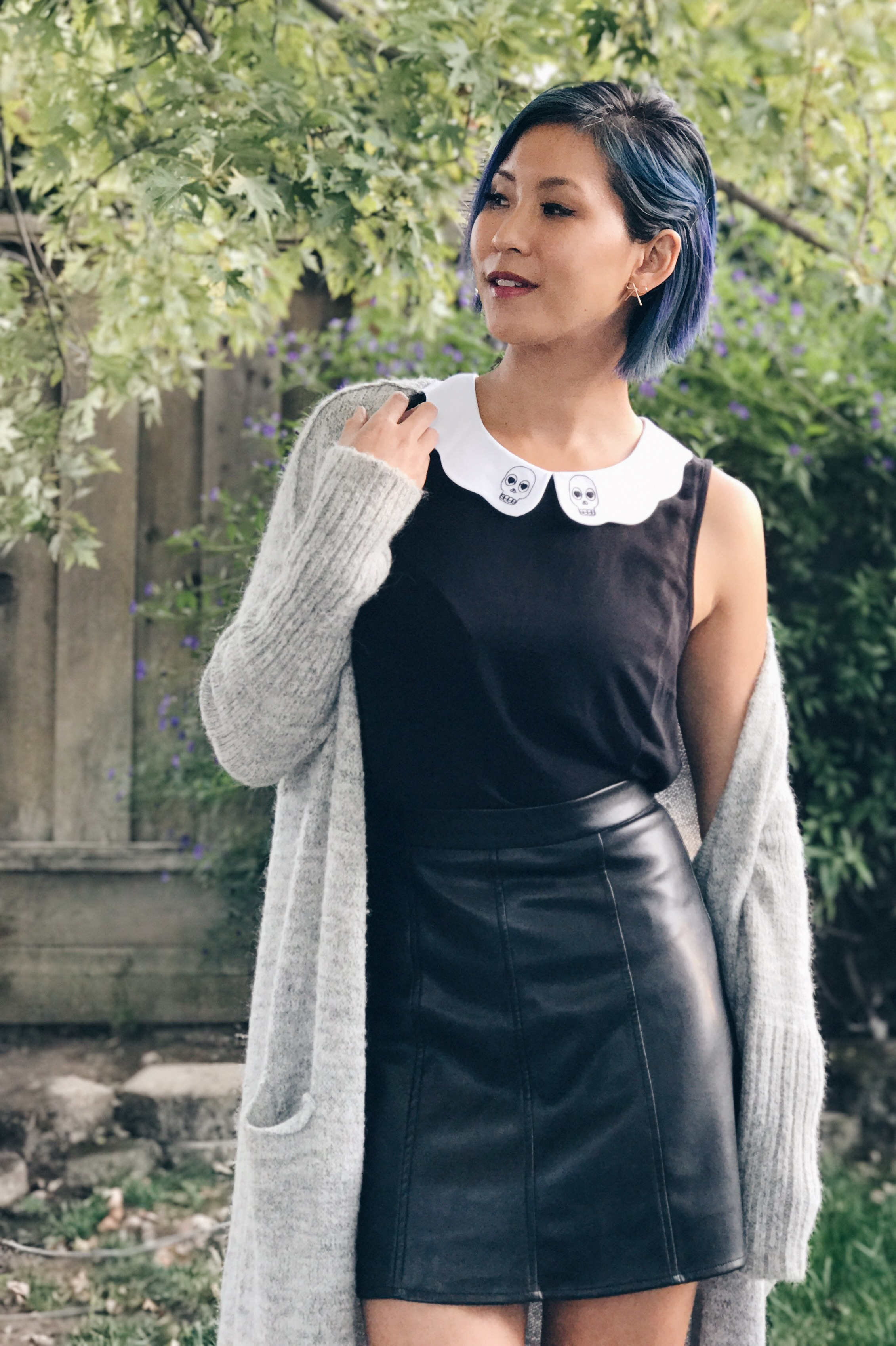 Cute Skull Collar Top Ghoulish October Outfit