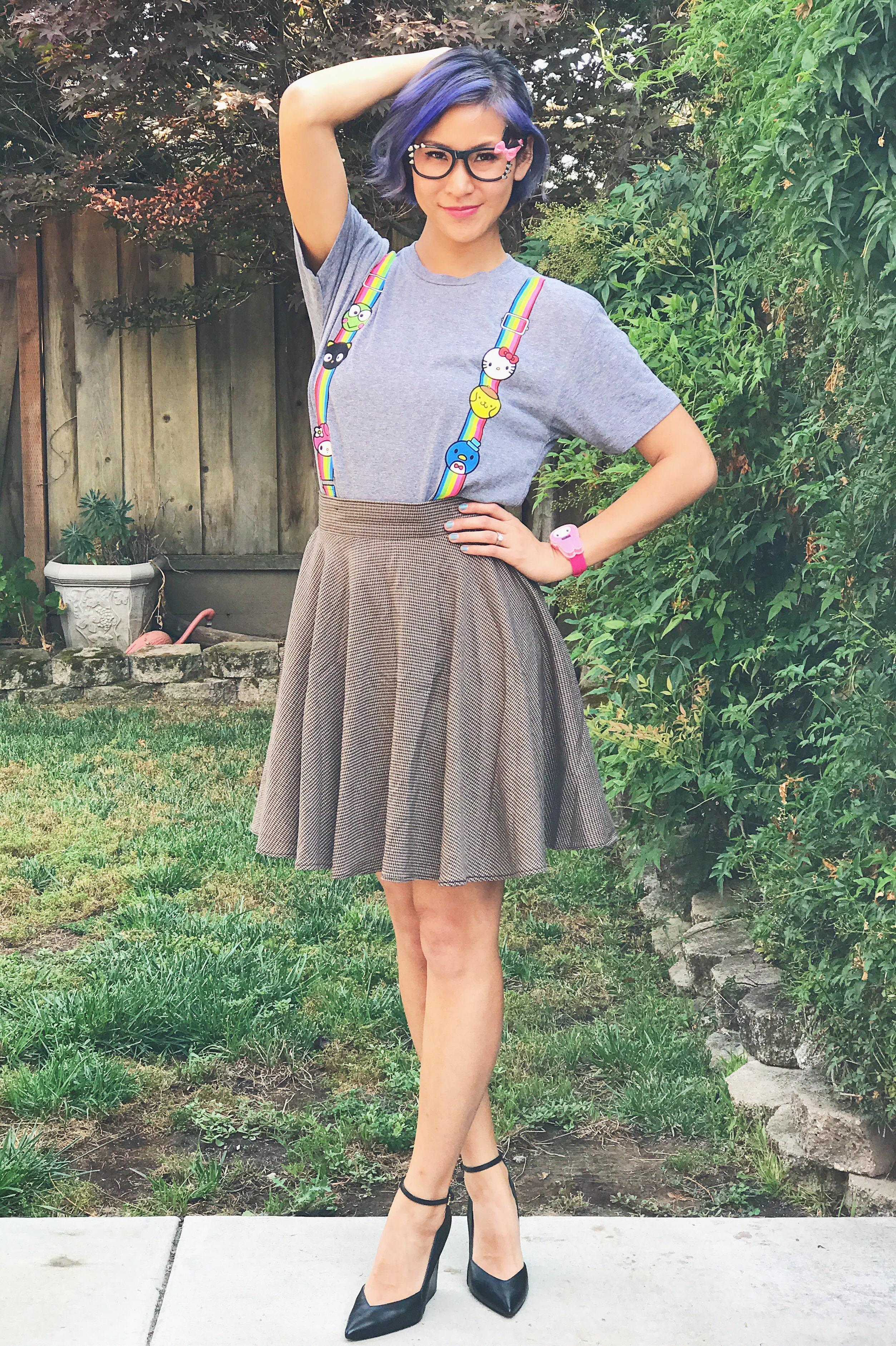 SDCC Sanrio Suspenders Rainbow Tee Geeky Outfit