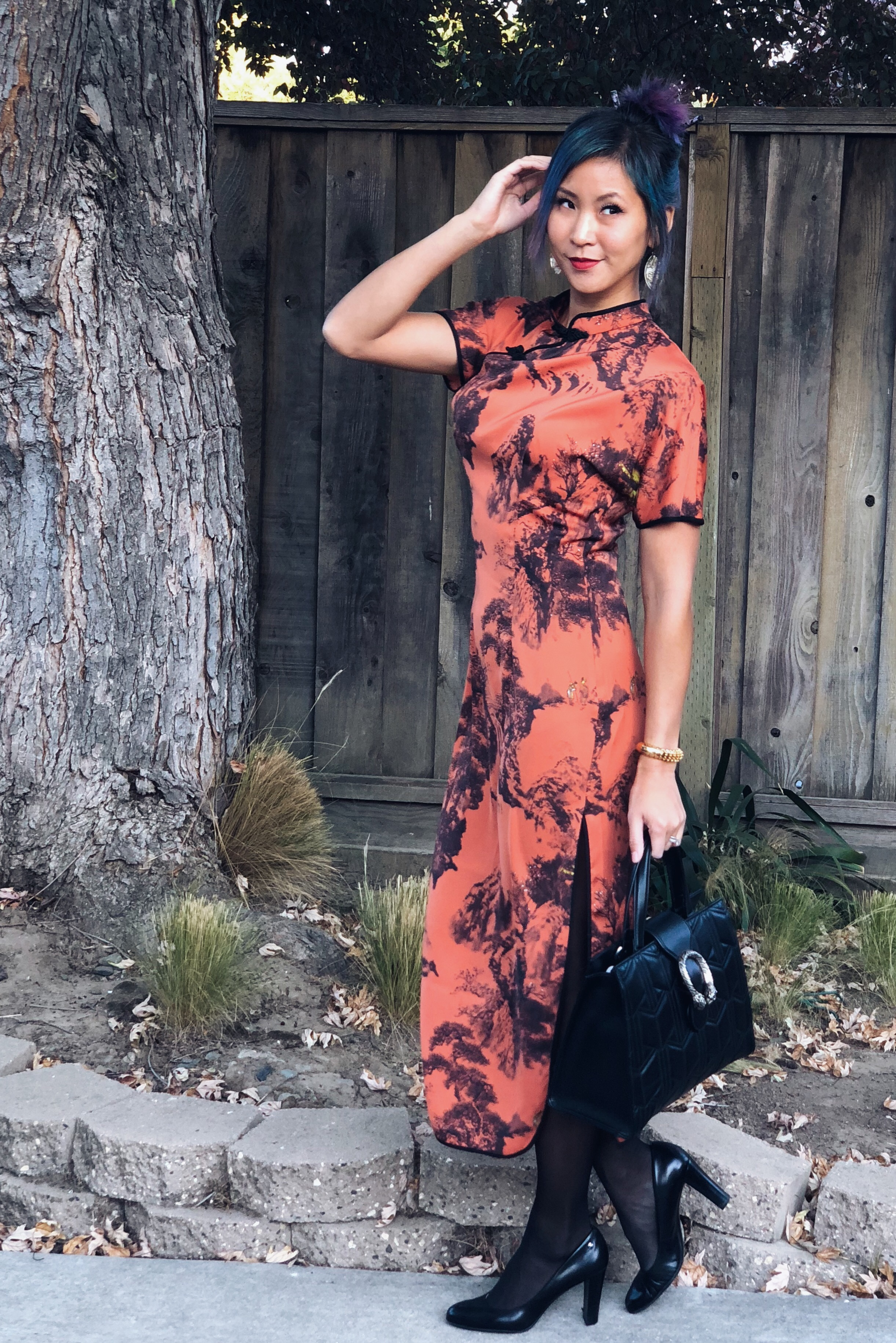 Zara Orange and Black Chinese Asian Print Dress Halloween