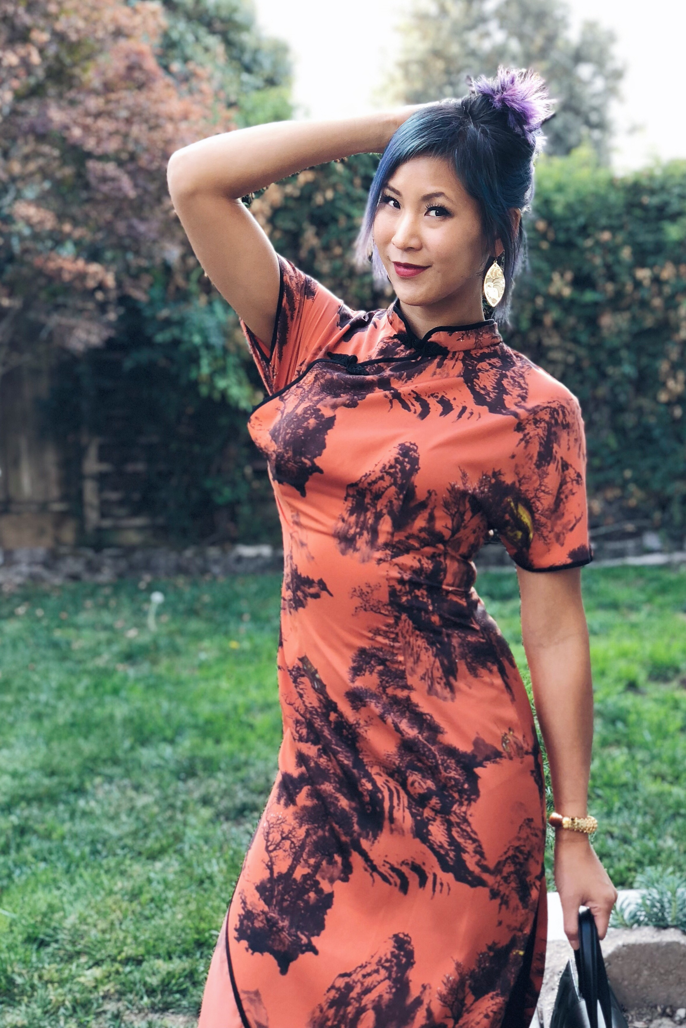 Zara Orange and Black Chinese Asian Print Dress