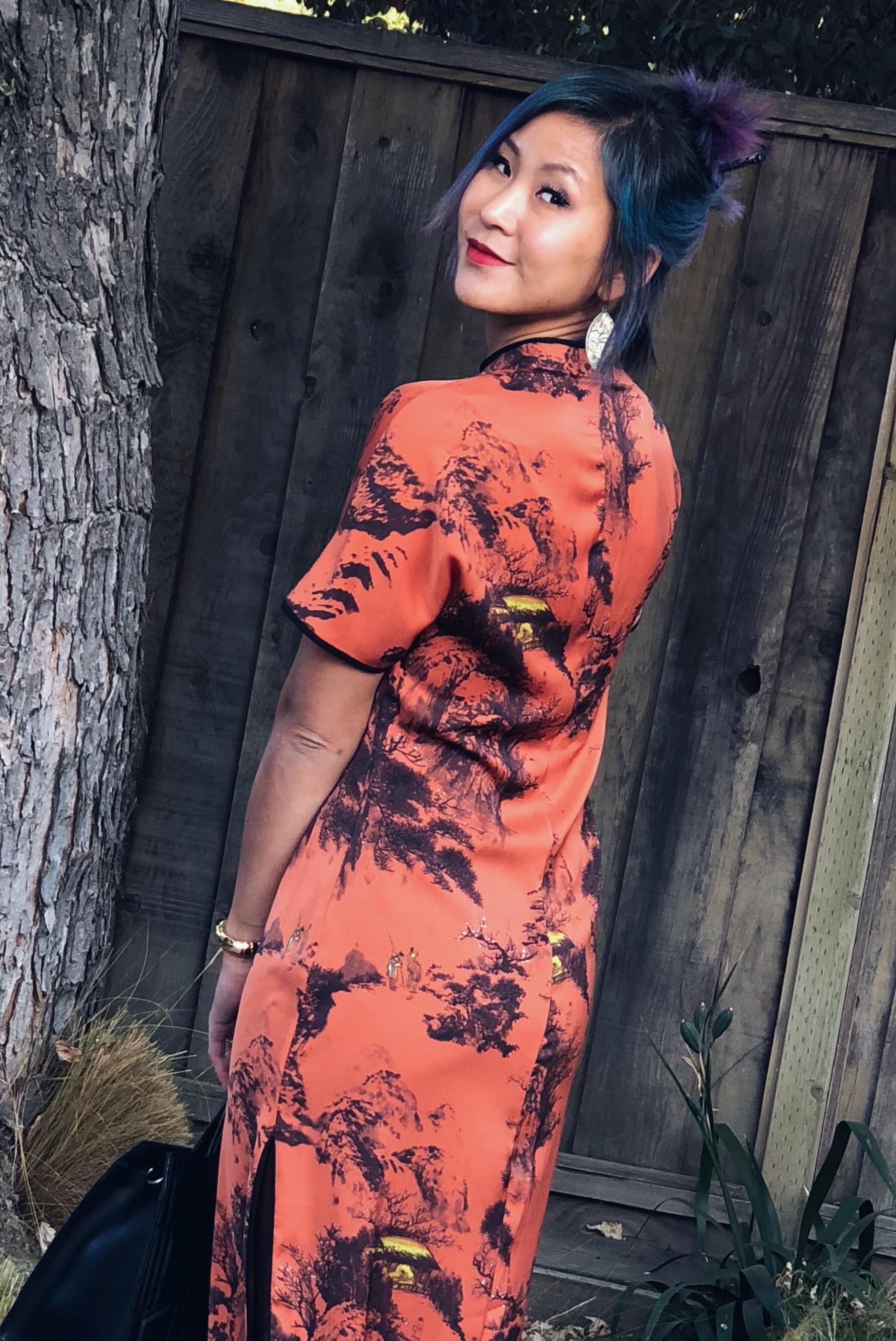 Zara Orange and Black Chinese Asian Print Dress
