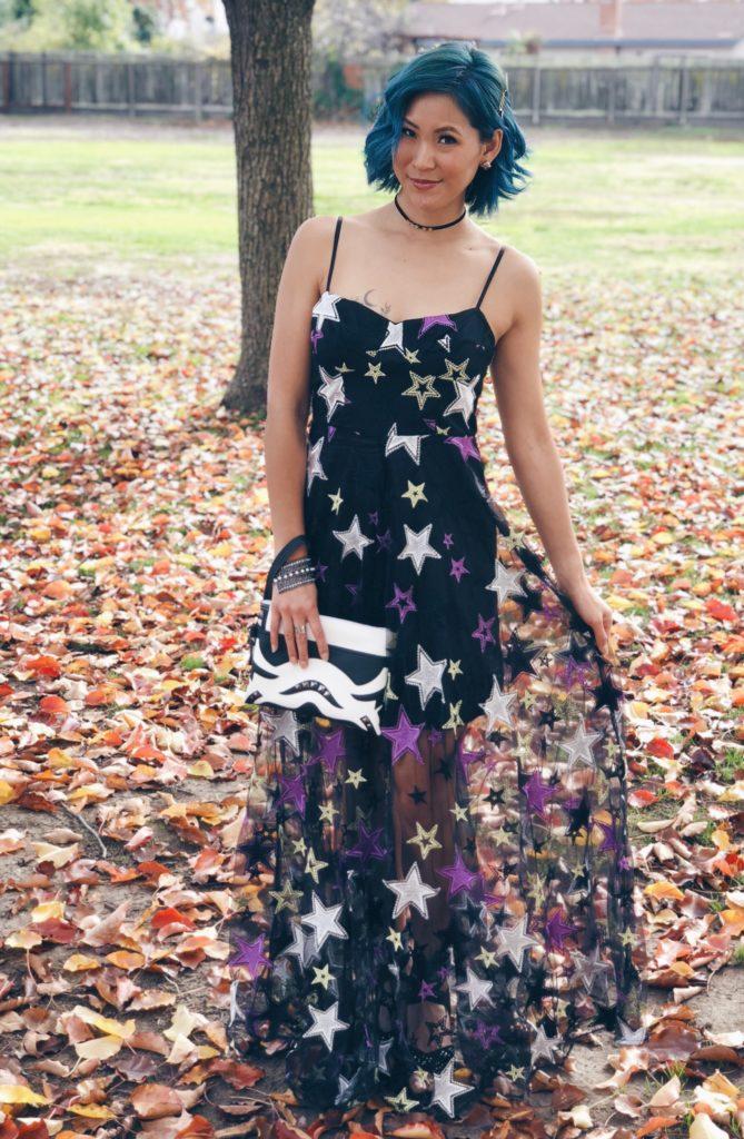 zendaya aqua metallic star print dress - star wars clutch